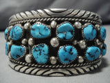 Important Vintage Native American Navajo Tommy More Turquoise Sterling Silver Bracelet Old-Nativo Arts