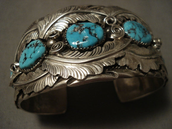 Important Vintage Navajo Al Chee Turquoise Native American Jewelry Silver Bracelet-Nativo Arts