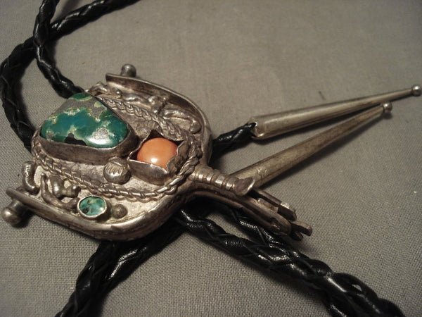 Important Vintage Navajo Cerrillos 'Working Saddle & Spur' Native American Jewelry Silver Bolo Tie