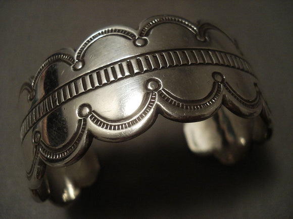 Important Vintage Navajo Deborah Native American Jewelry Silversmith Native American Jewelry Silver Hand Tooled Bracelet-Nativo Arts