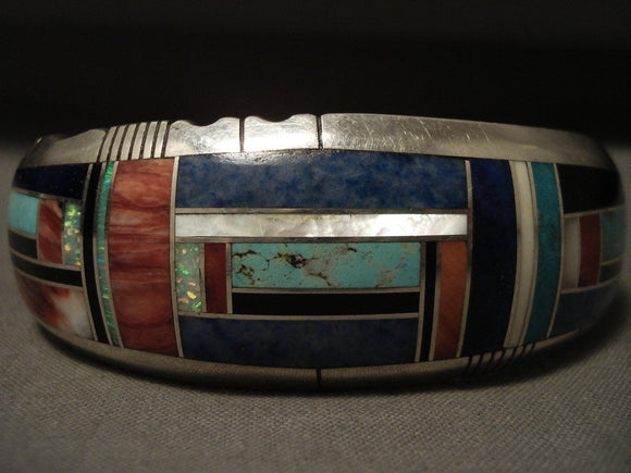 Important Vintage Navajo 'Extreme Inlay' Turquoise Native American Jewelry Silver Bracelet-Nativo Arts