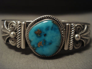 Important Vintage Navajo Gary Reeves Natural Turquoise Native American Jewelry Silver Bracelet-Nativo Arts