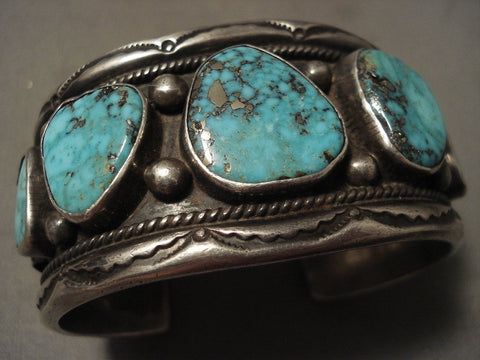 Important Vintage Navajo Gibson Nez Turquoise Native American Jewelry Silver Bracelet Old-Nativo Arts