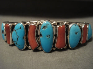 Important Vintage 'Navajo Guild' Turquoise Coral Native American Jewelry Silver Bracelet-Nativo Arts