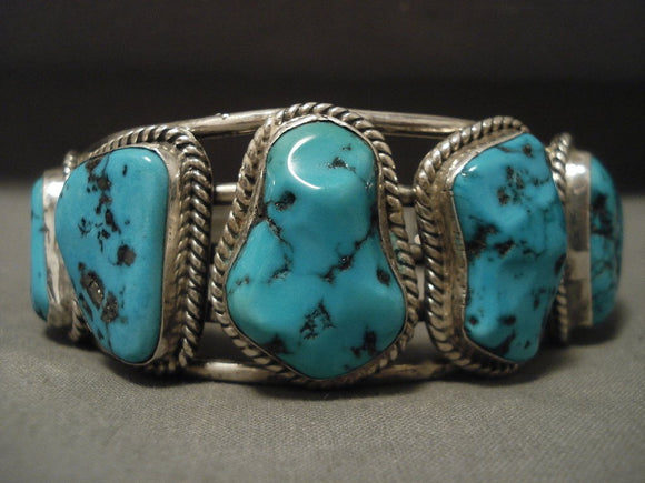 Important Vintage Navajo 'Guild' Turquoise Native American Jewelry Silver 92 Grams Bracelet-Nativo Arts