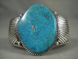 Important Vintage Navajo Herman Vandeder Lone Mountain Turquoise Native American Jewelry Silver Bracelet-Nativo Arts