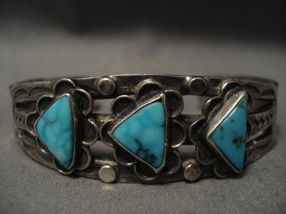 Important Vintage Navajo Ingot Native American Jewelry Silver Turquoise Bracelet-Nativo Arts