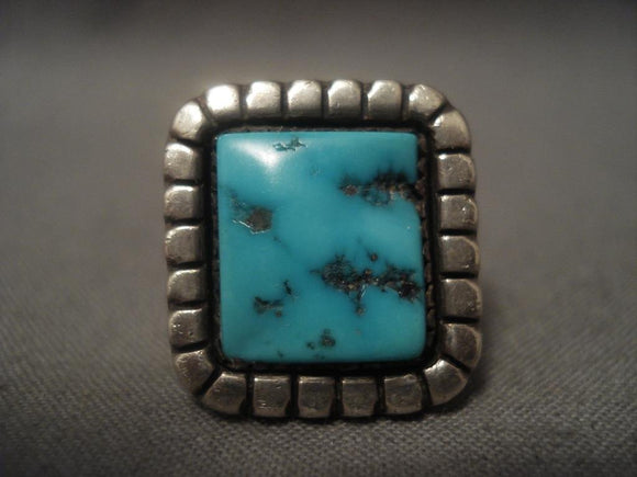 Important Vintage Navajo *ivan Kee* Turquoise Native American Jewelry Silver Ring-Nativo Arts