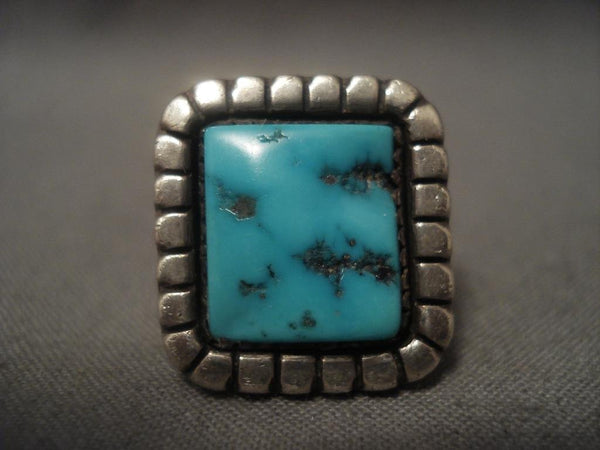 Important Vintage Navajo *ivan Kee* Turquoise Native American Jewelry Silver Ring