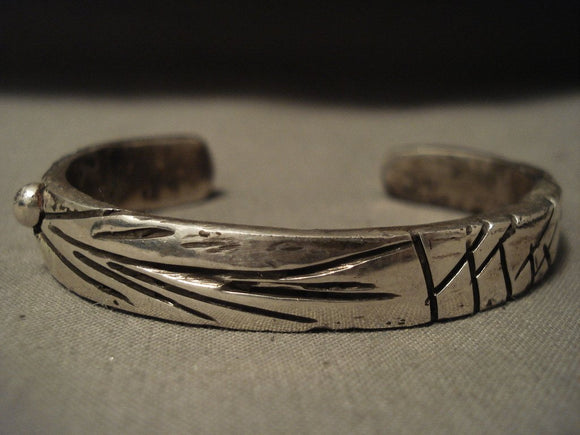 Important Vintage Navajo Jimmie King Jr Native American Jewelry Silver Ingot Hand Pounded Bracelet-Nativo Arts