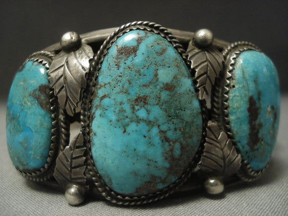 Important! Vintage Navajo Johnny Mike Begay Turquoise Sterling Native American Jewelry Silver Bracelet-Nativo Arts