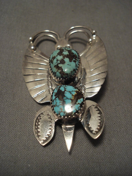 Important Vintage Navajo Kee Joe Benally (d.) Turquoise Native American Jewelry Silver Pin Old