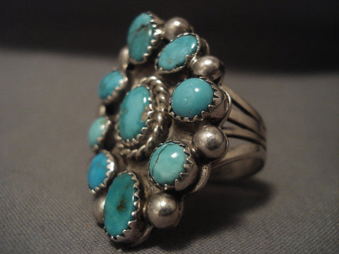 Important Vintage Navajo Kee Joe Benally (d.) Turquoise Native American Jewelry Silver Ring-Nativo Arts