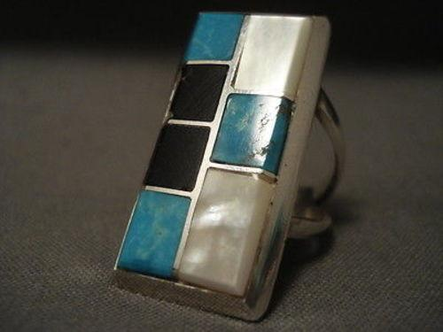 Important Vintage Navajo Kirk Smith (d.) Inlay Turquoise Native American Jewelry Silver Ring Old-Nativo Arts
