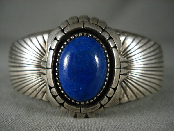 Important Vintage Navajo Lapis Native American Jewelry Silver Bracelet Old