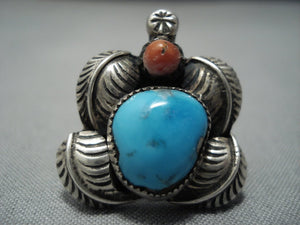 Important!! Vintage Navajo Native American Jewelry jewelry Carl And Irene Clark Turquoise Sterling Silver Rring-Nativo Arts