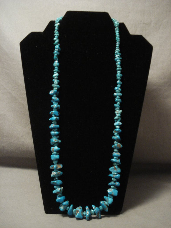 Important Vintage Navajo Native American Jewelry jewelry Persian Turquoise Necklace Old-Nativo Arts
