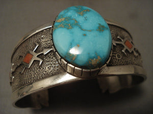 Important Vintage Navajo 'Natural Carico Lake Turquoise' Native American Jewelry Silver Bracelet-Nativo Arts