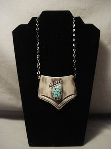 Important Vintage Navajo Oiliva Whitethorne Turquoise Native American Jewelry Silver Necklace-Nativo Arts