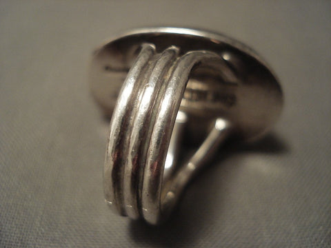 Important Vintage Navajo Orville Tsinnie 'Armadillo' Native American Jewelry Silver Ring Old-Nativo Arts