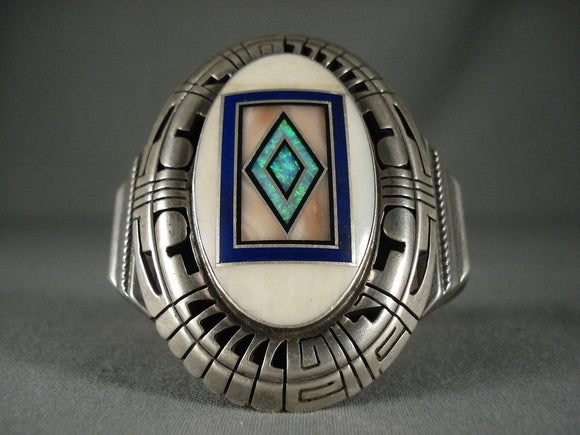 Important Vintage Navajo 'Piano Key' Opal Native American Jewelry Silver Bracelet-Nativo Arts