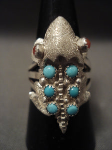 Important Vintage Navajo 'Toad' Turquoise Coral Native American Jewelry Silver Ring Old-Nativo Arts