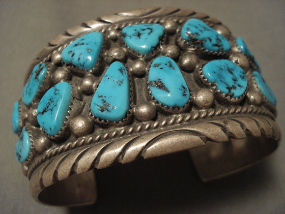 Important Vintage Navajo Tom Moore Turquoise Native American Jewelry Silver Bracelet-Nativo Arts