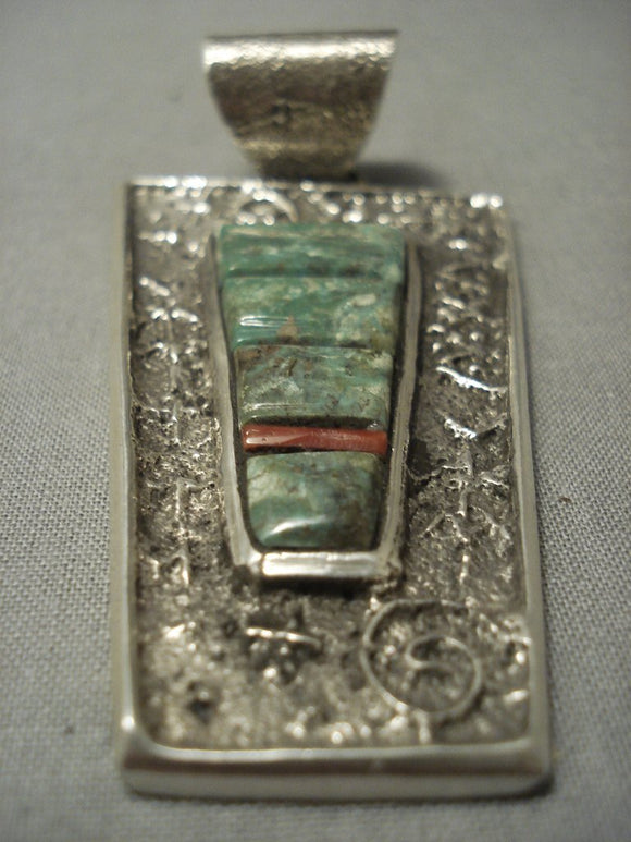 Important Vintage Navajo Tufa Cast Huge Native American Jewelry Silver Butterfly Native American Jewelry Silver Pendant-Nativo Arts