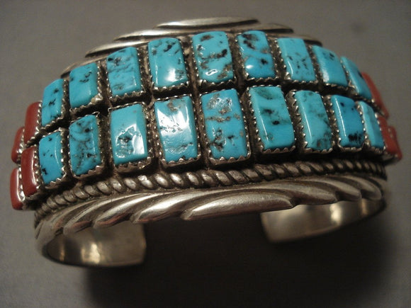 Important Vintage Navajo Turquoise Coral 'Stepping Stone' Native American Jewelry Silver Bracelet-Nativo Arts