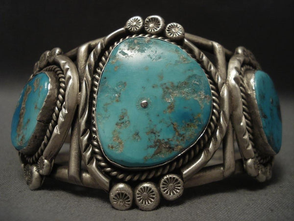 Important Vintage Navajo Turquoise Native American Jewelry Silver Bracelet