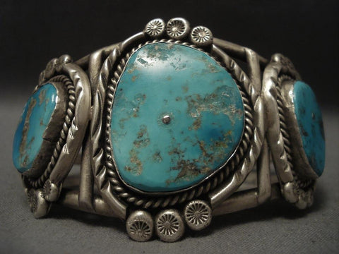 Important Vintage Navajo Turquoise Native American Jewelry Silver Bracelet-Nativo Arts