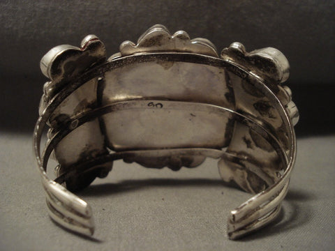 Important Vintage Navajo 'Turquoise Sun' Native American Jewelry Silver Bracelet-Nativo Arts