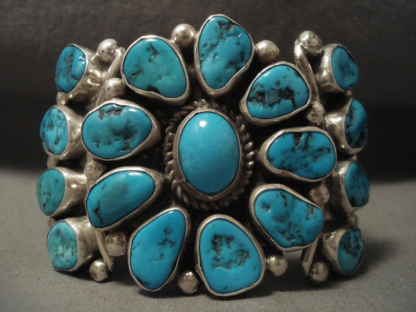 Important Vintage Navajo 'Turquoise Sun' Native American Jewelry Silver Bracelet