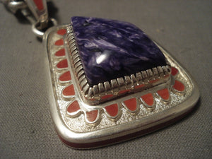 Important Vintage Navajo Vernon Haskie Charoite Coral Native American Jewelry Silver Necklace-Nativo Arts