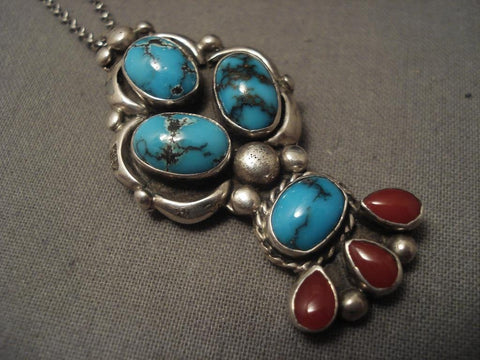 Important Vintage Navajo Victor Beck Bisbee Turquoise Native American Jewelry Silver Necklace-Nativo Arts