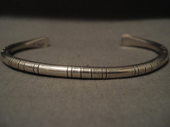 Important Vintage Navajo Wes Willie Native American Jewelry Silver 'Advanced Technique' Bracelet-Nativo Arts