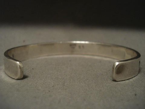 Important Vintage Navajo Wes Willie Native American Jewelry Silver Bracelet- Very Rare!-Nativo Arts