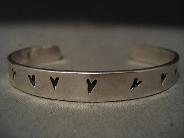 Important Vintage Navajo Wes Willie Native American Jewelry Silver Bracelet- Very Rare!