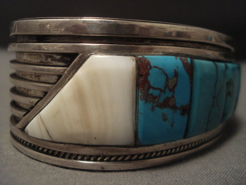 Important Vintage Santo Domingo Turquoise Row Native American Jewelry Silver Bracelet Old-Nativo Arts