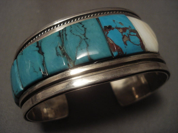 Important Vintage Santo Domingo Turquoise Row Native American Jewelry Silver Bracelet Old