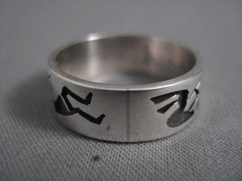 Important Vintage Steve Pooyama Native American Jewelry Silver Kokopelli Ring-Nativo Arts