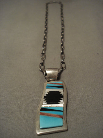 Important Vintage 'Turquoise Rug' Sterling Native American Jewelry Silver Tommy Jackson Necklace-Nativo Arts