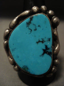 Important Vintage *very Rare* Tony Aguilar Sr. Turquoise Native American Jewelry Silver Ring Old-Nativo Arts
