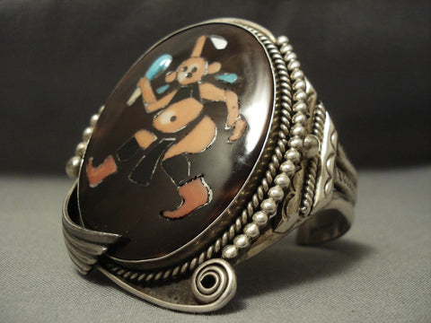 Important Vintage Zuni Authentic Mudhead Coral Shell Sterling Native American Jewelry Silver Bracelet-Nativo Arts