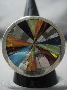Important Vintage Zuni Colin Coonsis Opal Sterling Native American Jewelry Silver Ring-Nativo Arts