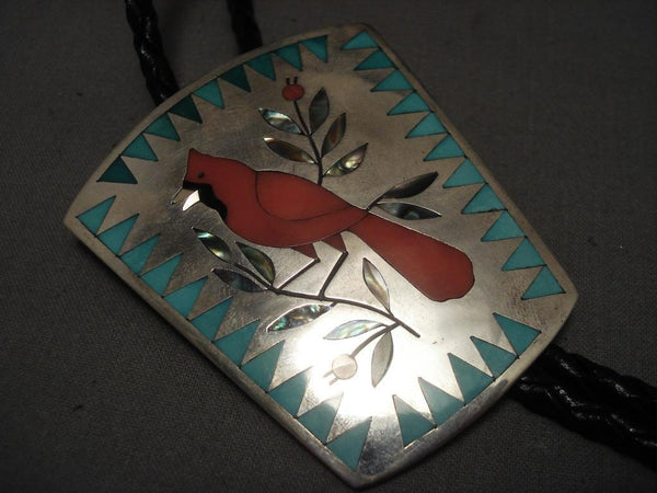 Important Vintage Zuni Native American Jewelry Silver Cardinal Bolo Tie