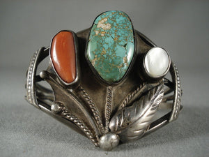 Important Vintage Zuni Natural Green Turquoise Coral Native American Jewelry Silver Bracelet-Nativo Arts