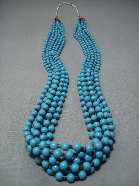 Important Yazzie Blue Turquoise Sterling Native American Jewelry Silver Heishi Necklace-Nativo Arts