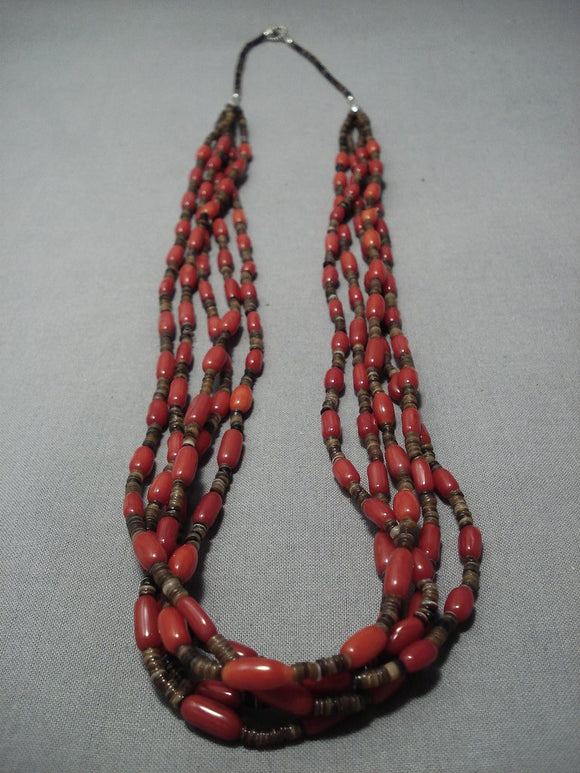 Important!! Yazzie Navajo Native American Jewelry jewelry Coral Sterling Silver Heishi Necklace-Nativo Arts