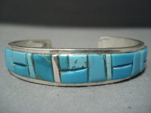 Important Yazzie Turquoise Sterling Native American Jewelry Silver Navajo Bracelet-Nativo Arts